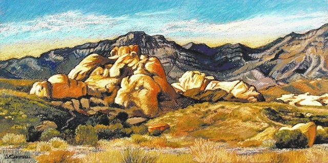 One of Linda Campbell's pastel pieces is a study of Red Rock Canyon with the late-afternoon sun. (Special to View)