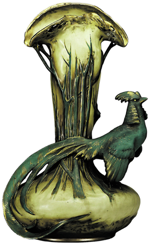 Cowles Syndicate Inc. This 15-inch-high Amphora vase features a pheasant perched on a base. The vase is made to resemble a tree branch. It was offered last year at a Rago Arts auction in Vineland, ...