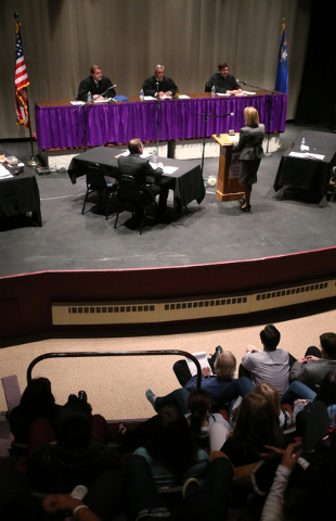Attorney Kristine Brown, representing Michael Charles Meisler, argues before Nevada Supreme Court Justices, from left, Ron Parraguirre, James Hardesty and Michael Cherry during a Supreme Court hea ...
