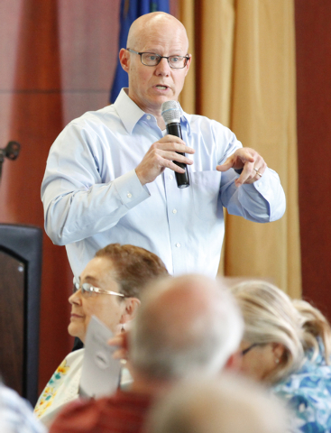 Henderson City Manager Jacob Snow addresses questions during a Bridging the Budget Gap meeting presented by Henderson city officials at Heritage Park Senior Facility, 300 S. Racetrack Road, on Tue ...