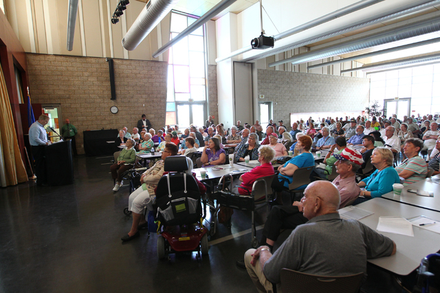 Members of the senior community listen during a Bridging the Budget Gap meeting presented by Henderson city officials at Heritage Park Senior Facility, 300 S. Racetrack Road, in Henderson on Tuesd ...