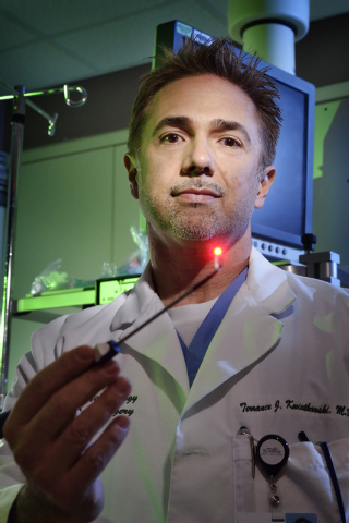 Dr. Terrance Kwiatkowski is shown with the equipment he uses to perform balloon sinuplasties, which are used for the treatment of blocked sinuses, at Sunrise Hospital and Medical Center at 3186 S. ...