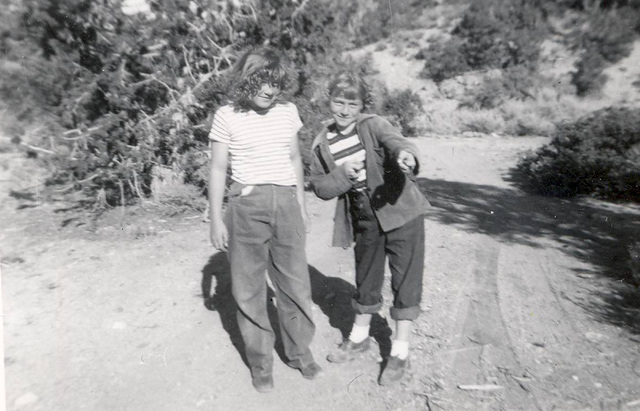 Terri Robertson, right, and her sister, Sophia, on one of their trips into the desert with their family in the 1950s. (Courtesy Terri Robertson)