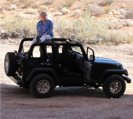 Terri Robertson, long-time advocate for some of Southern Nevada's outdoor treasures, sits on top of a Jeep in this undated photo taken during a tour of Gold Butte, an area south of Mesquite propos ...