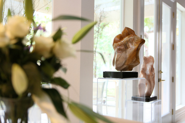 """Sculptures by Dorit Schwartz titled """"Harmony,"""" center right, and """"Unison,"""" right, are shown in her home, March 10. (Ronda Churchill/View)"""