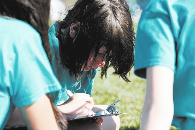 Sara Holstein works on an exercise that identifies bullying behavior with her group at Station Elementary School in Las Vegas Monday, Mar. 17, 2014. The Girls on the Run program prepares young wom ...