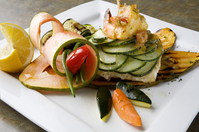 Pan Roasted Sea Bass with Sauteed Shrimp in Cardinal Sauce is displayed at Bernardճ Bistro located at 2021 Sunset Road in Henderson on Wednesday, April 9, 2014. (Jeferson Applegate/Las Vegas ...