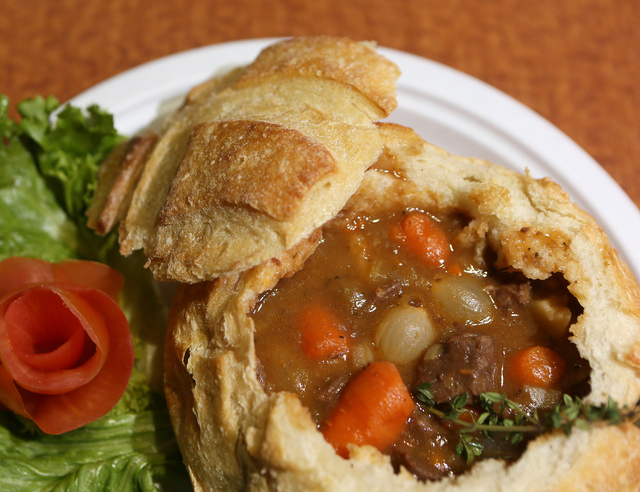 Beef stew in a bread bowl with tomato garnish is offered at Kitchen Creations Cafe in the Clark County Government Center (Ronda Churchill/Las Vegas Review-Journal)(Ronda Churchill/Las Vegas Review ...