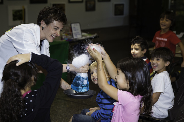 Lani Sussman of Mad Science shows children an experiment at the Springs Preserve, 333 S. Valley View Blvd., during a Mad Science Mania show. (Special to View)