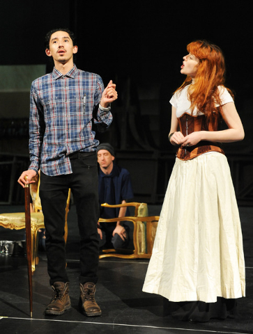 "Oscar Antonio, as Charles Sedley, and Nicole Unger, as Margaret Hughes, perform during rehearsal in the the play ""Compleat Female Stage Beauty,"" on the Cheyenne campus of the College ..."