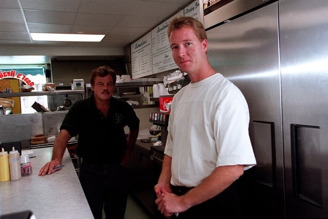 Hans Aareskjold, right, who owned the Strip Sandwich Shop, and Ray Freres, who helped operate the restaurant, are shown in this 2001 photo. Aareskjold is appealing his conviction on an arson charg ...