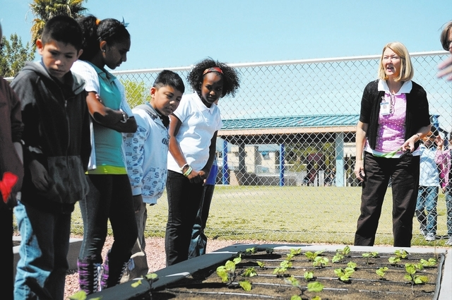 Shawna Karl, right, learning strategist at Thiriot Elementary School, instructs fifth-grade students during a gardening class April 3. (Erik Verduzco/View)