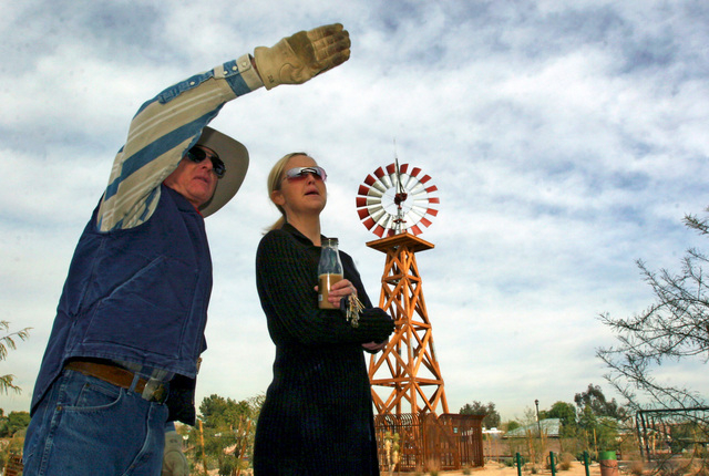 Don Bamberry, left, talks with Suzanne Eitelberg at the Western Trails Horse Park on Friday, Dec. 30, 2005. Bamberry has been recognized by the Clark County Board of Commissioners for the creation ...