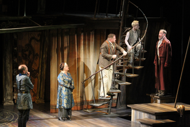 """Antonio (Louis Butelli), left, (Gonzala) Dawn Didawick, Sebastian (Edmund Lewis), Ariel (Nate Dendy) and Alonso (Christopher Donahue) perform in """"The Tempest"""" at The Smith Center for the Performin ..."""