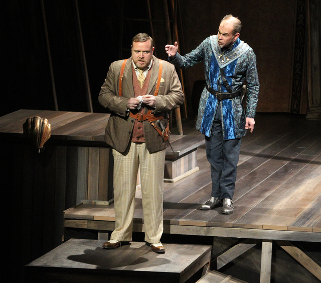 """Sebastian (Edmund Lewis), left, and Antonio (Louis Butelli)  perform in """"The Tempest"""" at The Smith Center for the Performing Arts on Friday. (K.M. Cannon/Las Vegas Review-Journal)"""
