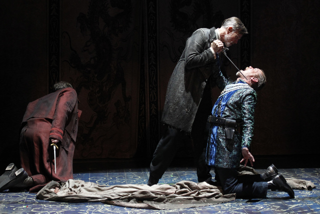 """Prospero (Tom Nelis) confronts brother Antonio (Louis Butelli) during """"The Tempest"""" at The Smith Center for the Performing Arts on Friday. (Jason Bean/Las Vegas Review-Journal)"""