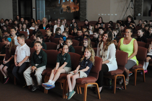 Students participate during a surprise ceremony to announce the winner of the annual Mojave Max contest at Faith Lutheran Academy in Las Vegas Thursday, April 24, 2014. Peyton Burns, a first grade ...