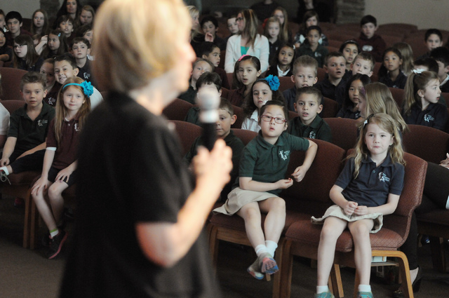 Clark County Commissioner Susan Brager addresses students during a surprise ceremony to announce the winner of the annual Mojave Max contest at Faith Lutheran Academy in Las Vegas Thursday, April  ...