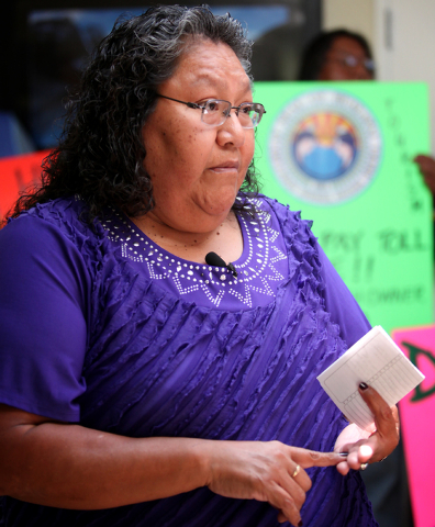 Sherry J. Counts, Hualapai tribal chairwoman, right, are seen at a press conference at Chinese Host Tours in Las Vegas Wednesday, June 5, 2013 to draw attention to rancher Nigel Turner's recent $2 ...