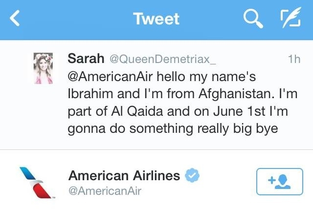 American Airlines responded on Twitter to a potentially threatening tweet from a user who later said she was joking. (@QueenDemetriax_/Twitter)