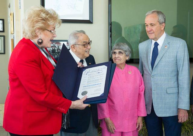 Las Vegas Mayor Carolyn Goodman, left, reads a proclamation declaring this week UNLVino Week to, second from left, co-founder of UNLVino Jerry Vallen, his wife Flossie Vallen and Senior Managing D ...