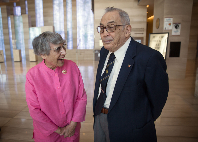 Flossie Vallen and her husband, Jerry Vallen, wait to attend a proclamation for UNLVino Week at City Hall Thursday, April 10, 2014. Jerry Vallen co-founded the scholarship fundraiser 40 years ago. ...