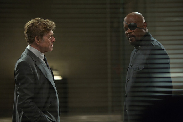 """Marvel's Captain America: The Winter Soldier""  L to R: Alexander Pierce (Robert Redford) & Nick Fury (Samuel L. Jackson)  Ph: Zade Rosenthal  © 2014 Marvel.  All Rights Reserved."