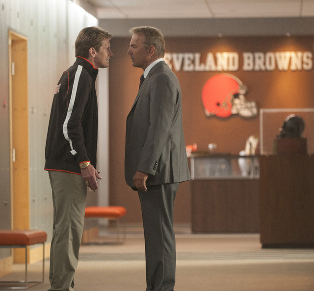 """Denis Leary and Kevin Costner star in """"Draft Day,"""" with Costner as the Cleveland Browns' general manager and Leary as the team's new coach who find themselves butting heads. (Dale Robinett ..."""