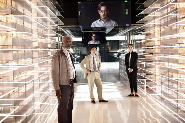 """Morgan Freeman as Joseph Tagger, Cillian Murphy as Agent Buchanan, Johnny Depp as Will Caster (on monitors), and Rebecca Hall as Evelyn Caster star in """"Transcendence.""""  (Peter Mountain/Warner Bros ..."""