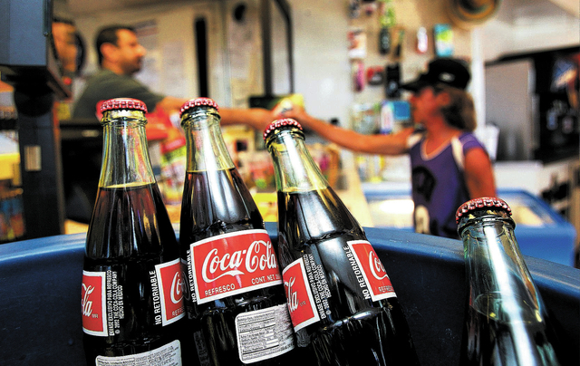 Glass bottles of coke manufactured in Mexico are available for sale at the One Stop Shop gas station at 1420 W. Bonanza Road in Las Vegas Thursday, Sept. 26, 2013. (John Locher/Las Vegas Review-Jo ...