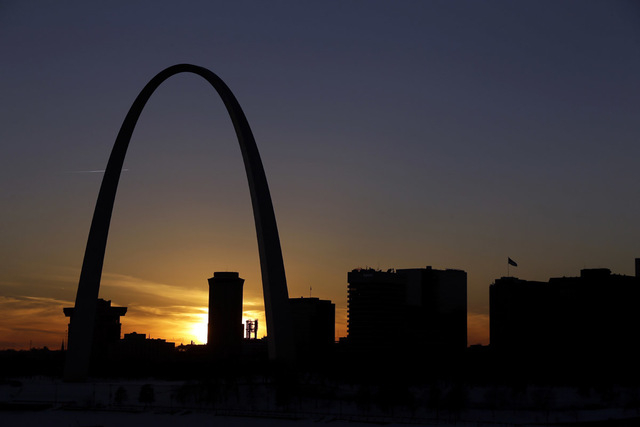 The Gateway Arch dominates the skyline in St. Louis. The iconic Arch, built as a monument to westward expansion, stands 630 feet tall along the banks of the Mississippi River.  (AP File Photo/Jeff ...