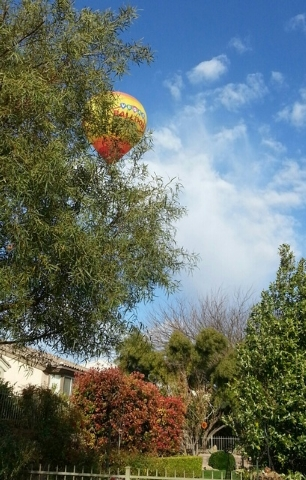 Summerlin resident Susie Russell-Wagner took this photo from her patio of two hot air balloons cruising overhead. (Special to View)