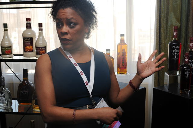 Lynn House, national brand ambassador at Heaven Hill Distilleries, talks about their pomegranate liqueur during the Wine & Spirits Wholesalers of America's 71st annual convention at the Caesars Pa ...