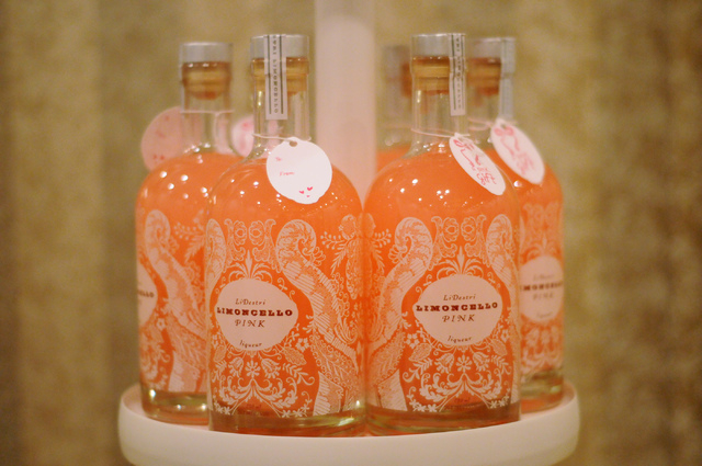 Limoncello Pink liqueur is seen on display at the LiDestri Spirits booth during the Wine & Spirits Wholesalers of America's 71st annual convention at the Caesars Palace in Las Vegas Tuesday, April ...
