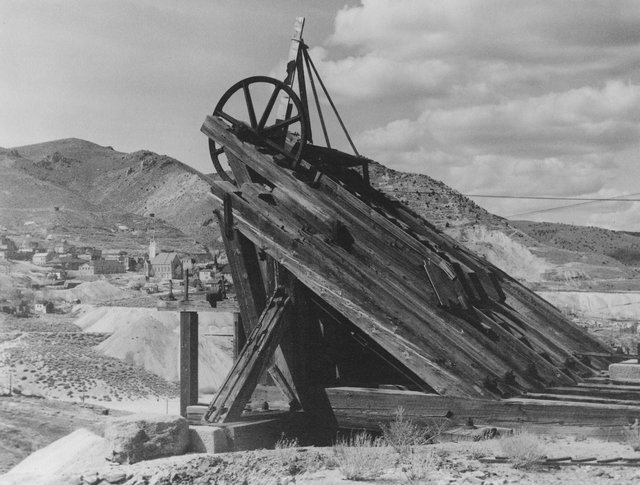 The Combination Shaft was created in 1875 during the Comstock Lode in Virginia City. The mineshaft was the second-deepest in the world at 3,250 feet. (Courtesy The Western Nevada Historic Photo Co ...