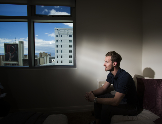 Robocoin CEO Jordan Kelley sits during an interview in the company's office at the Odgen on Wednesday, May 21, 2014. The Las Vegas company is launching its first Bitcoin ATM in Las Vegas at The D. ...