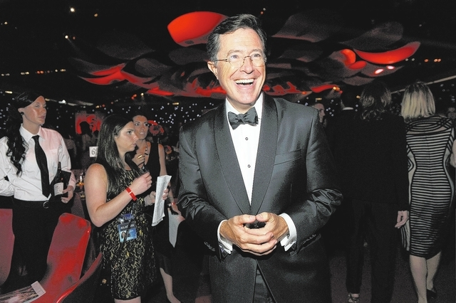 FILE - This Sept. 23, 2012 file photo shows TV personality Stephen Colbert at the 64th Primetime Emmy Awards Governors Ball in Los Angeles. CBS announced Thursday, April 10, 2014, Colbert, the hos ...