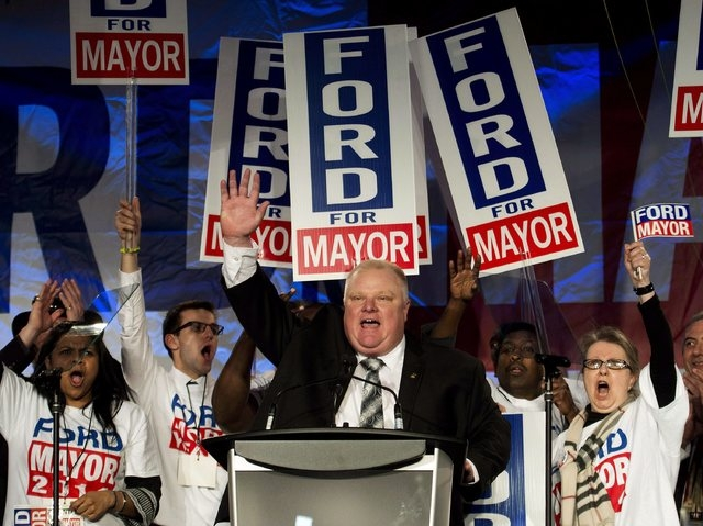 In this Thursday, April 17, 2014, file photo, Toronto mayor Rob Ford reacts as he speaks to his supporters during his campaign launch in Toronto. Rob Ford's lawyers  said on Wednesday, April 30, 2 ...