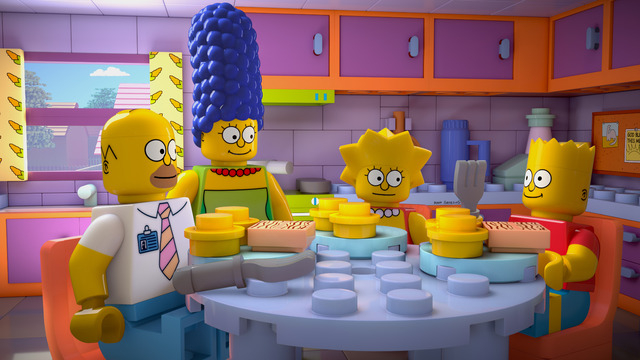 """This image released by FOX shows characters from the animated series, """"The Simpsons,"""" from left, Homer, Marge, Lisa and Bart, as Lego figures in episode No. 550, titled, """"Brick Like ..."""