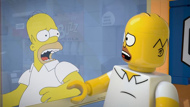 """This image released by FOX shows character Homer Simpson, from the animated series, """"The Simpsons,"""" as a Lego figure in episode No. 550, titled, """"Brick Like Me,"""" airing Sunday. ..."""