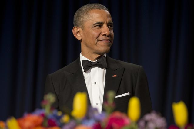 President Barack Obama arrives at the White House Correspondents' Association (WHCA) Dinner at the Washington Hilton Hotel, Saturday, May 3, 2014, in Washington. (AP Photo/Jacquelyn Martin)