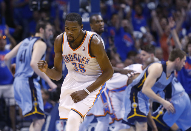 Oklahoma City Thunder forward Kevin Durant (35) pumps his fist as he heads back up the court following a three-pointer in the second quarter of Game 7 of an opening-round NBA basketball playoff se ...