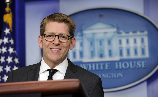 White House press secretary Jay Carney speaks during the daily briefing at the White House in Washington, Tuesday, May 6, 2014. Carney was asked about the situation in Ukraine and on climate chang ...