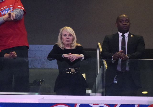Los Angeles Clippers owner Rochelle Sterling watches the Clippers play the Golden State Warriors during the first half in Game 7 of an opening-round NBA basketball playoff series, Saturday, May 3, ...