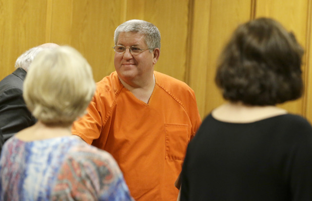 Bernie Tiede smiles after a court hearing granting his release at the Panola County court house in Carthage, Texas, Tuesday, May 6, 2014.  The former mortician whose killing of a rich widow shook  ...