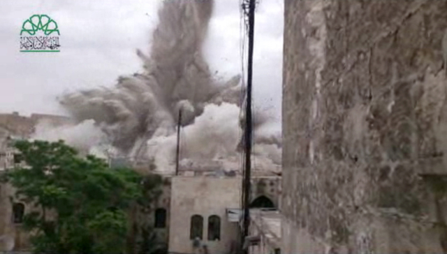 This image made from amateur video posted by Shaam News Network (SNN), an anti-Bashar Assad activist group, which has been verified and is consistent with other AP reporting, shows an explosion th ...