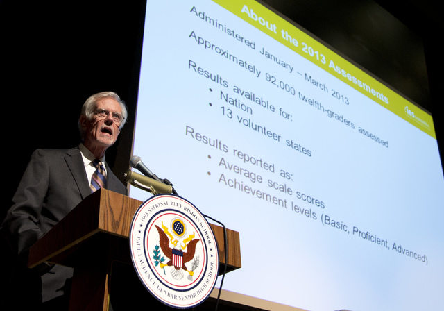 John Easton, Director of the Institute of Education Sciences and Acting Commissioner of the National Center for Education Statistics, speaks during a program at Dunbar High School, Wednesday, May  ...