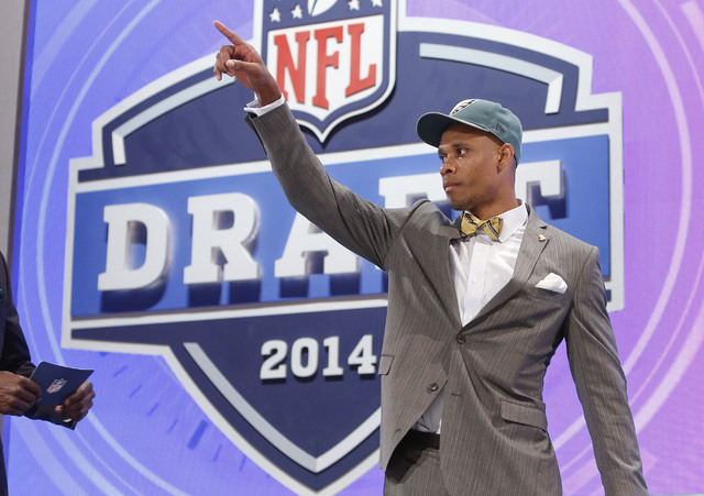Vanderbilt wide receiver Jordan Matthews reacts to the crowd after being selected as the 42 pick by the Philadelphia Eagles in the second round of the 2014 NFL Draft, Friday, May 9, 2014, in New Y ...