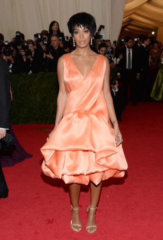 "This May 5, 2014 file photo shows Solange Knowles, sister of Beyonce Knowles, at The Metropolitan Museum of Art's Costume Institute benefit gala celebrating ""Charles James: Beyond Fashion"" in New  ..."