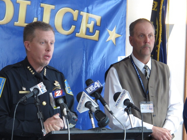 Sparks Police Chief Brian Allen, left, addresses reporters while Washoe County School District Police Chief Mike Mieras looks on Tuesday, May 13, 2014 at a news conference announcing the findings  ...